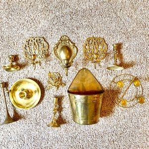 Vintage antique brass boho candlesticks